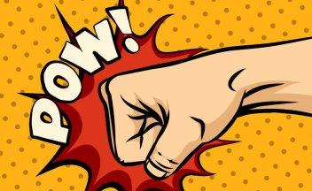 """Comic Faust schlägt rotes Loch in gelben Hintergrund, mit Schriftzug """"Pow!"""""""