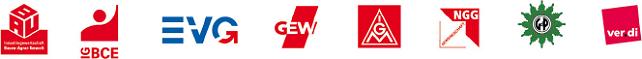 Logos der Gewerkschaften im DGB: IG BAU, IG BCE, EVG, GEW, IGM, NGG, GdP, ver.di