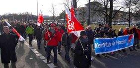 Dresden nazifrei 2012 Demospitze mit Transparent Kein Platz für Nazis