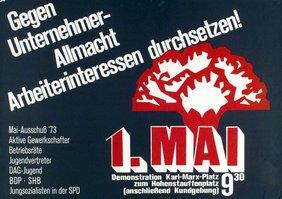 Plakat 1. Mai 1973: Gegen Unternehmerallmacht - Arbeiterinteressen durchsetzen