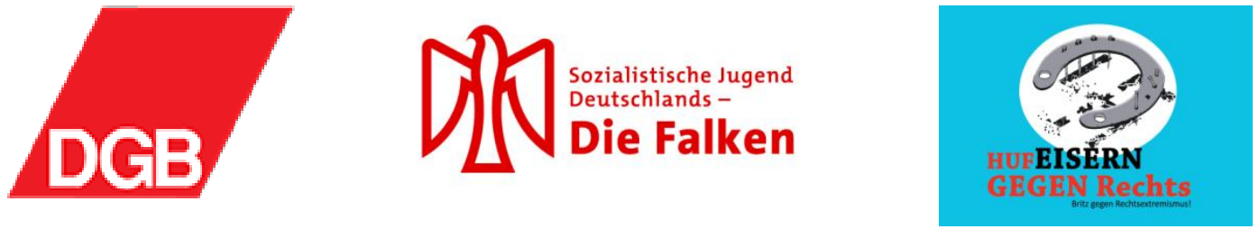 Logos DGB, Falken, Hufeisern gegen rechts