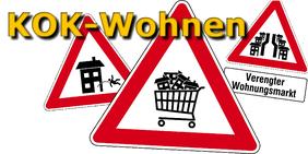 """rote Warndreiecke """"Verengter Wohnungsmarkt"""" ,""""Achtung Wohnungsverlust"""" und """"Mietwohnungen zu verkaufen"""""""