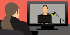 Grafik eines Onlinemeetings Person sitzt vor einem Bildschirm und sieht darin anderer Person