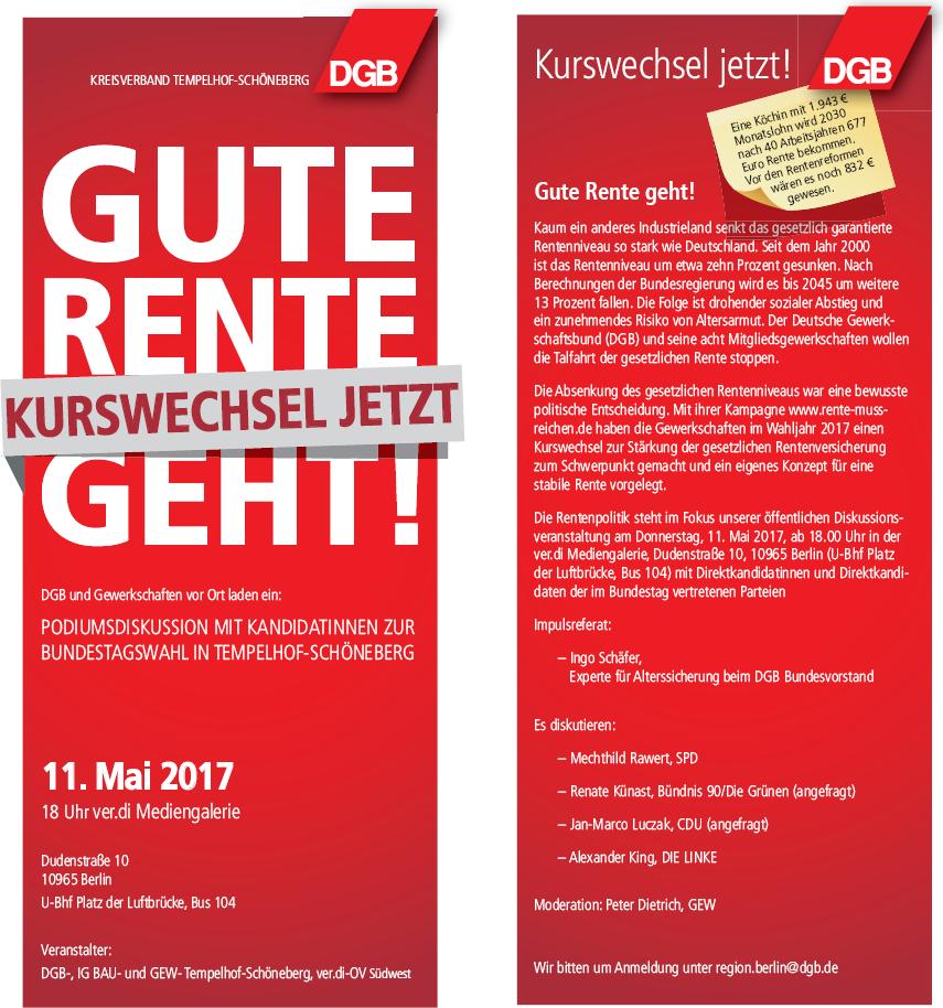 11.05.2017: Kurswechsel jetzt! Gute Rente geht!
