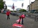 Bürgersteige und Radwege zum 1.Mai geschmückt in Reinickendorf